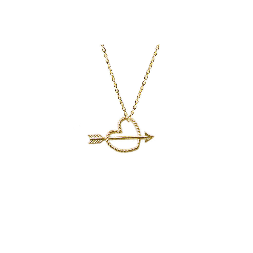 Tiny Rope Heart with Arrow Necklace