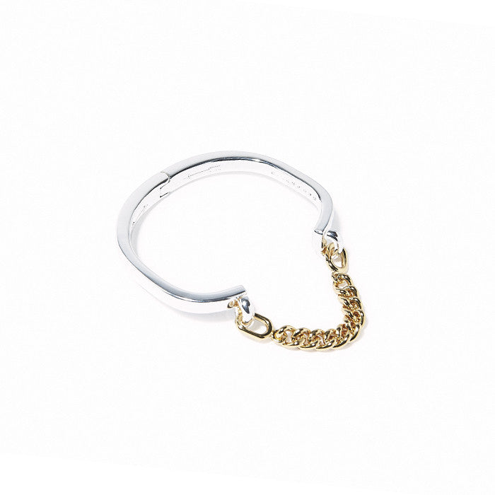 Stirrup Chain Hinge Cuff Silver with Gold chain
