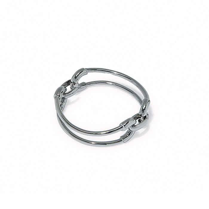 Rhodium Cortina Double Link Cuff