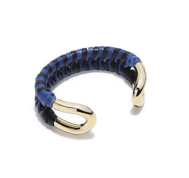 Skinny Cortina Cuff with Black & Blue Leather