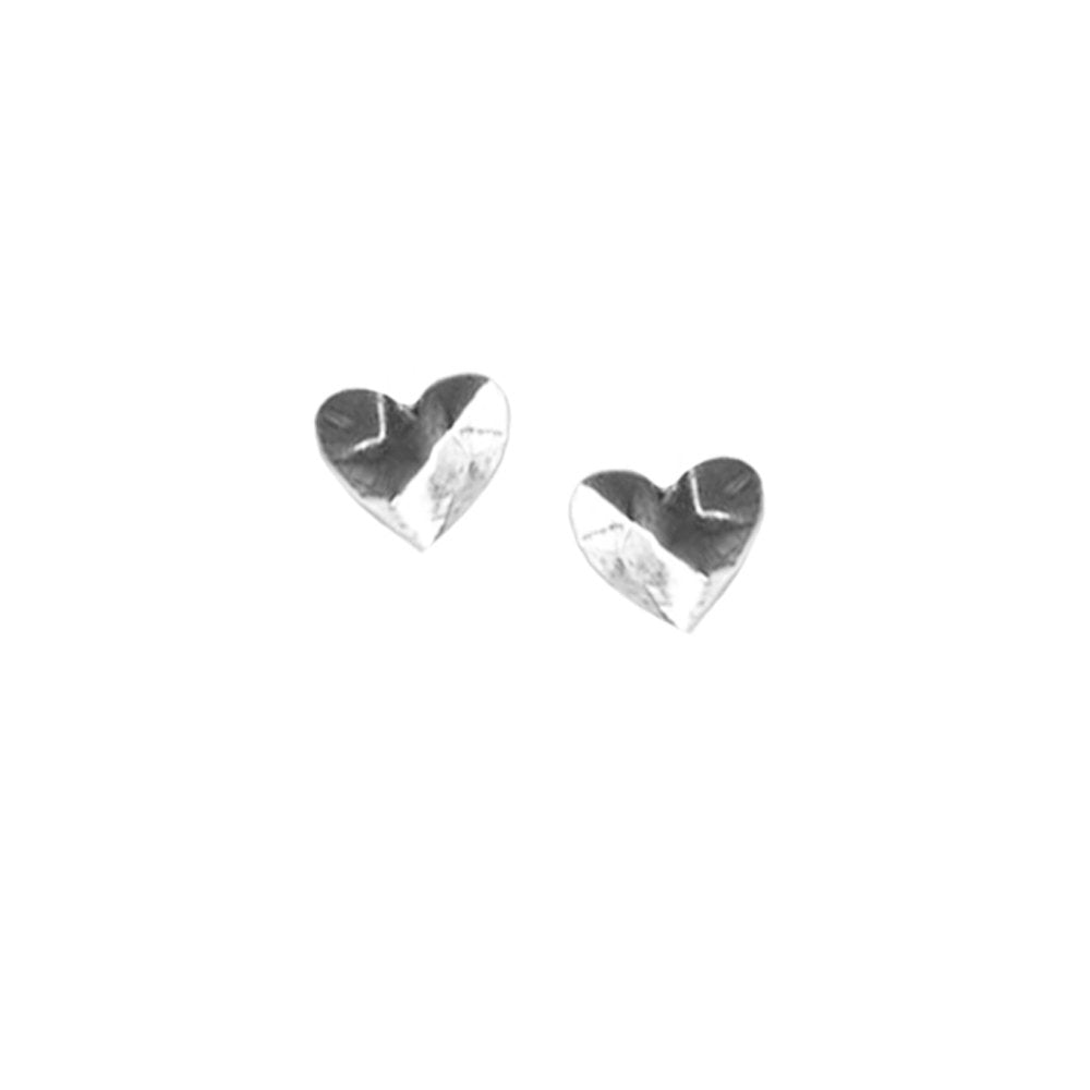 Tiny Faceted Heart Earrings