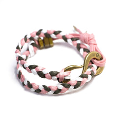 Braided  S Hook Wrap Bracelet Pink, Olive and White