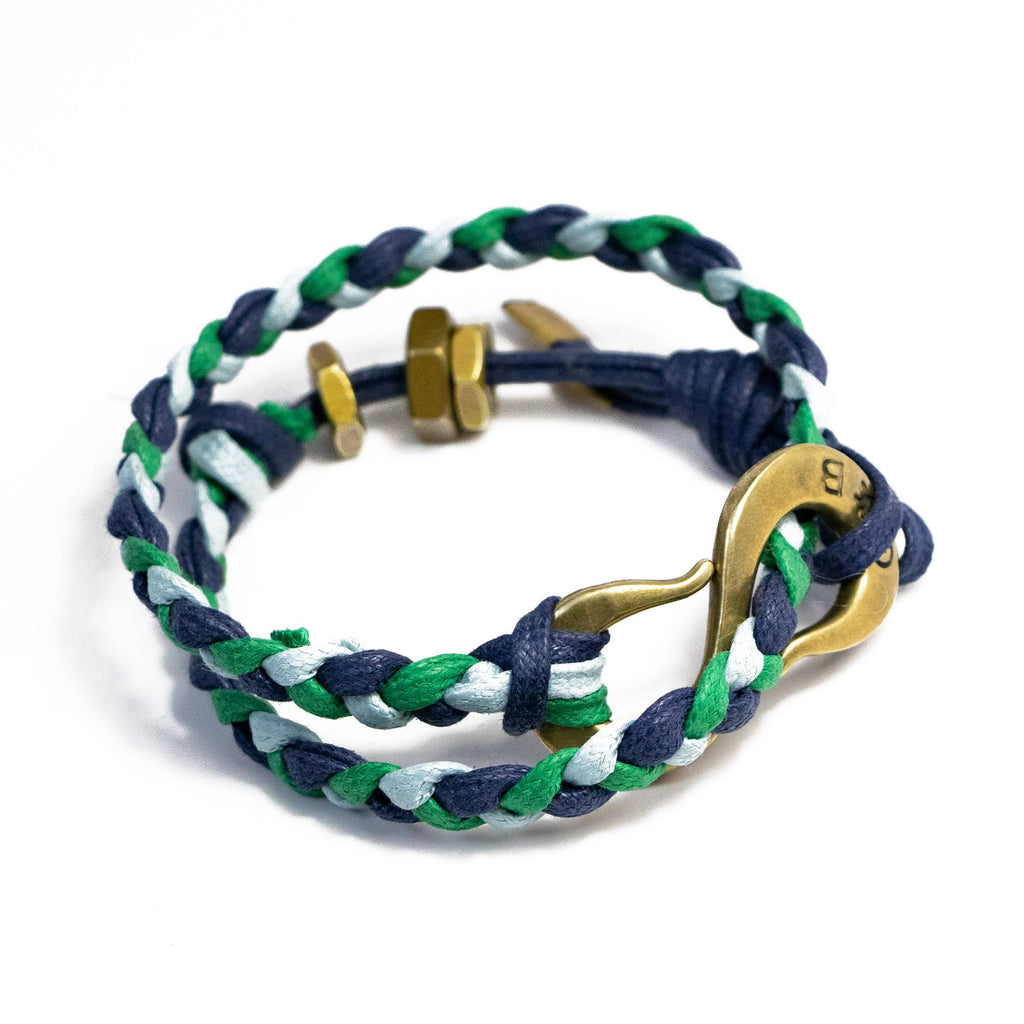 Braided  S Hook Wrap Bracelet Blue, Green and Navy