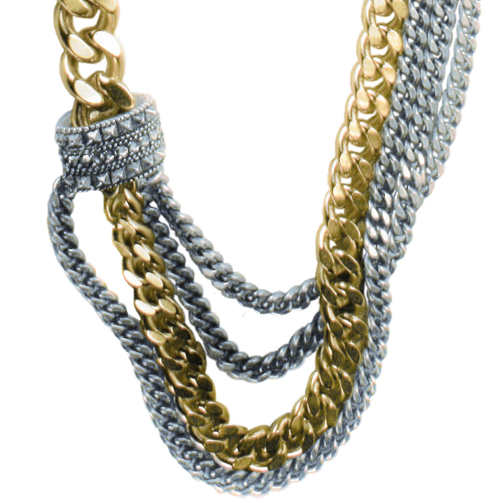Mixed Curb Chain Necklace w/ Chaton Bead