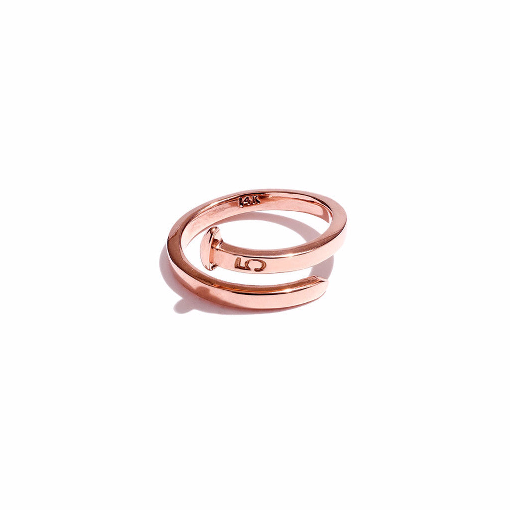 Mini Railroad Spike Crossover Ring 14K Rose Gold