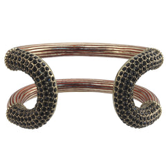 Siren Encrusted Cortina Cuff Brass with Lacquer & Jet Pave