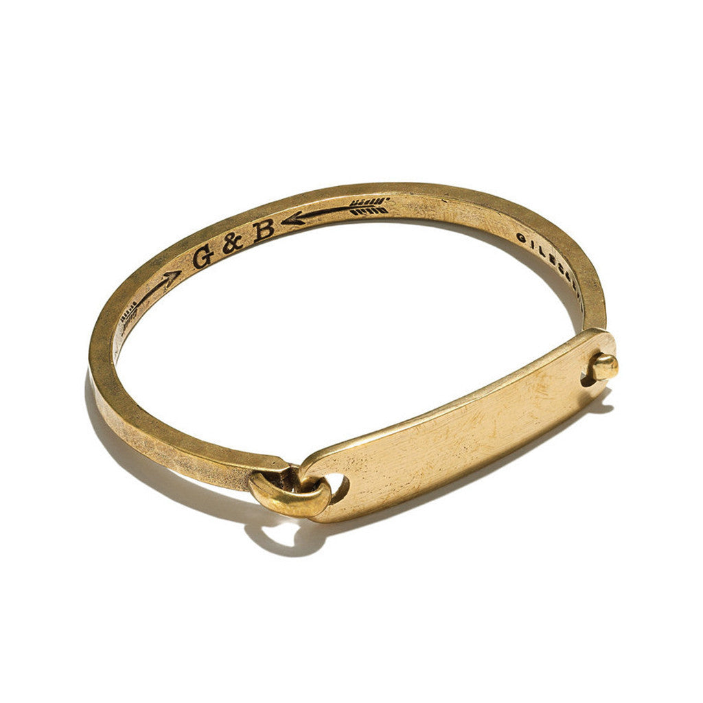 Giles & Brother Mens ID Tag With Hinge Cuff Bracelet 3f0uj