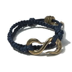 Braided Navy Cotton Lacing S-Hook Wrap Bracelet