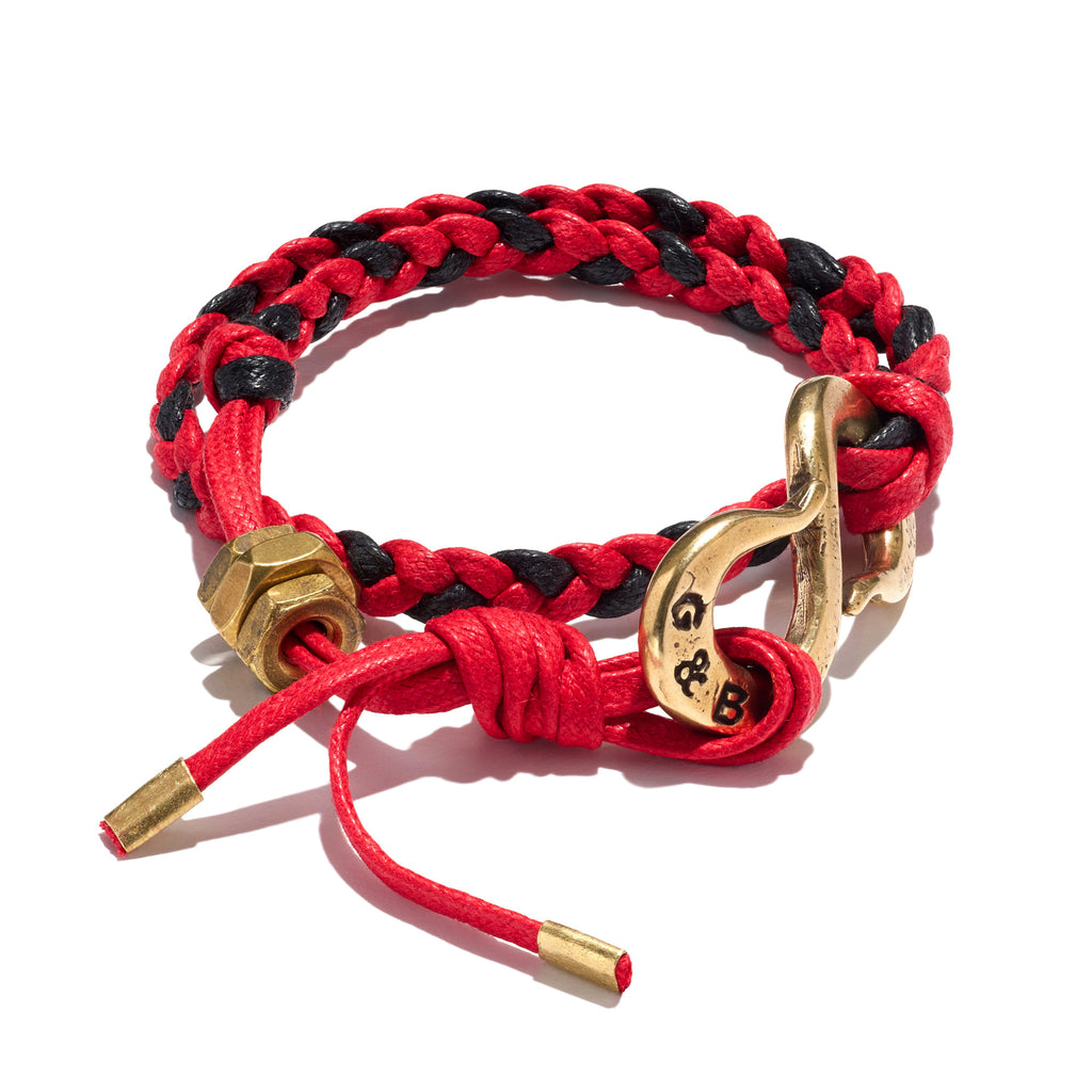 Braided Red & Black Cotton Lacing S-Hook Wrap Bracelet