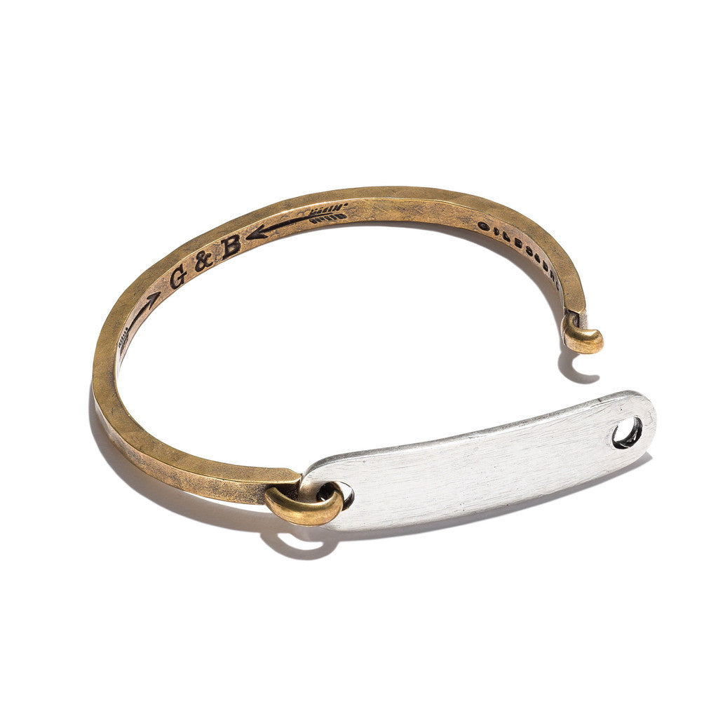 ID Tag with Hinge Cuff Brass with Silver