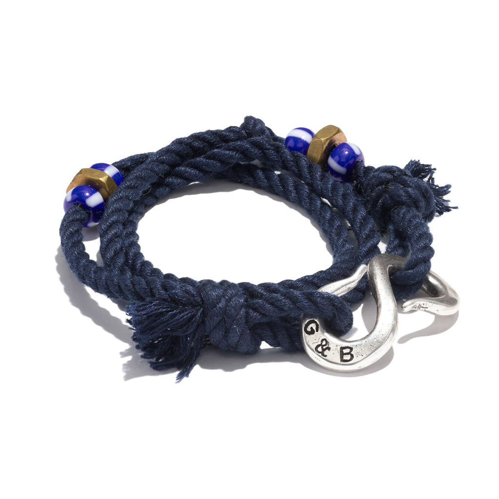 Wrap Rope S-Hook Bracelet Navy Silver