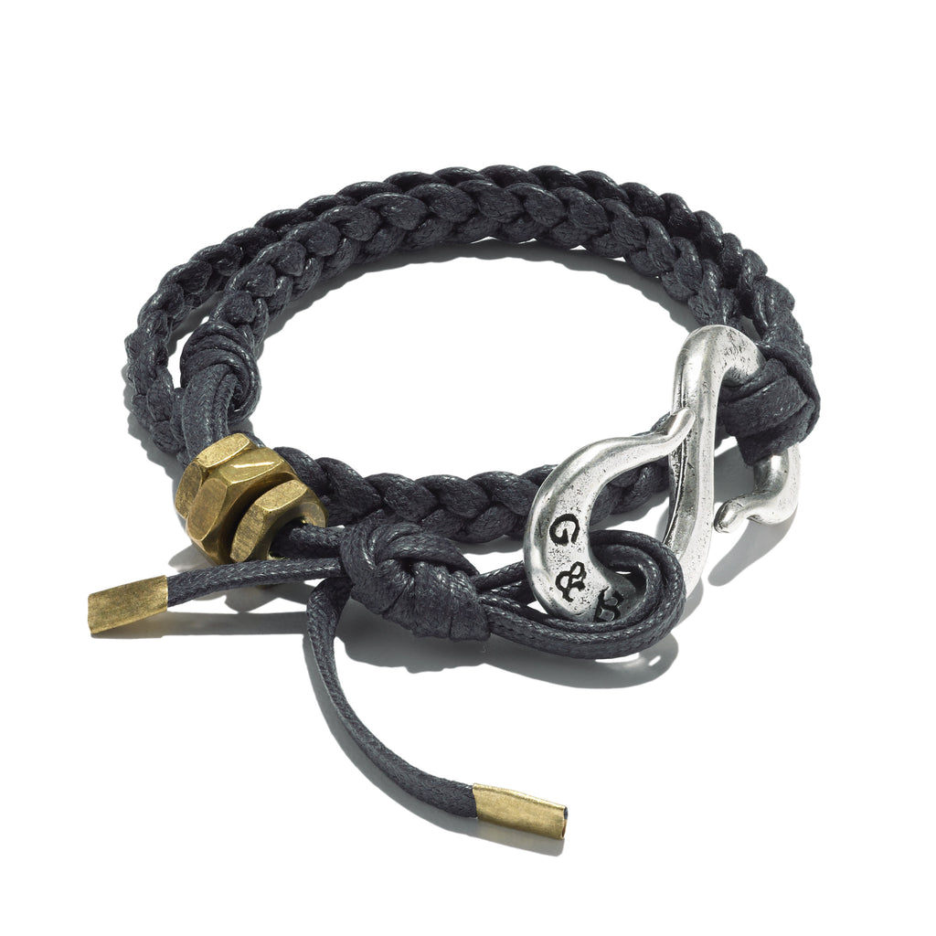 Braided Silver Oxide S Hook Wrap Bracelet Black