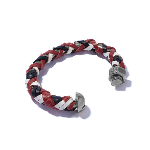 Nut & Bolt Cuff with Red, Black & White Leather Lashing