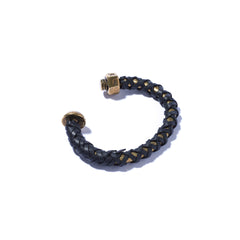 Nut & Bolt Brass Cuff with Black Leather Lashing
