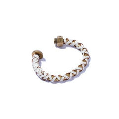 Nut & Bolt Brass Cuff with White Leather Lashing