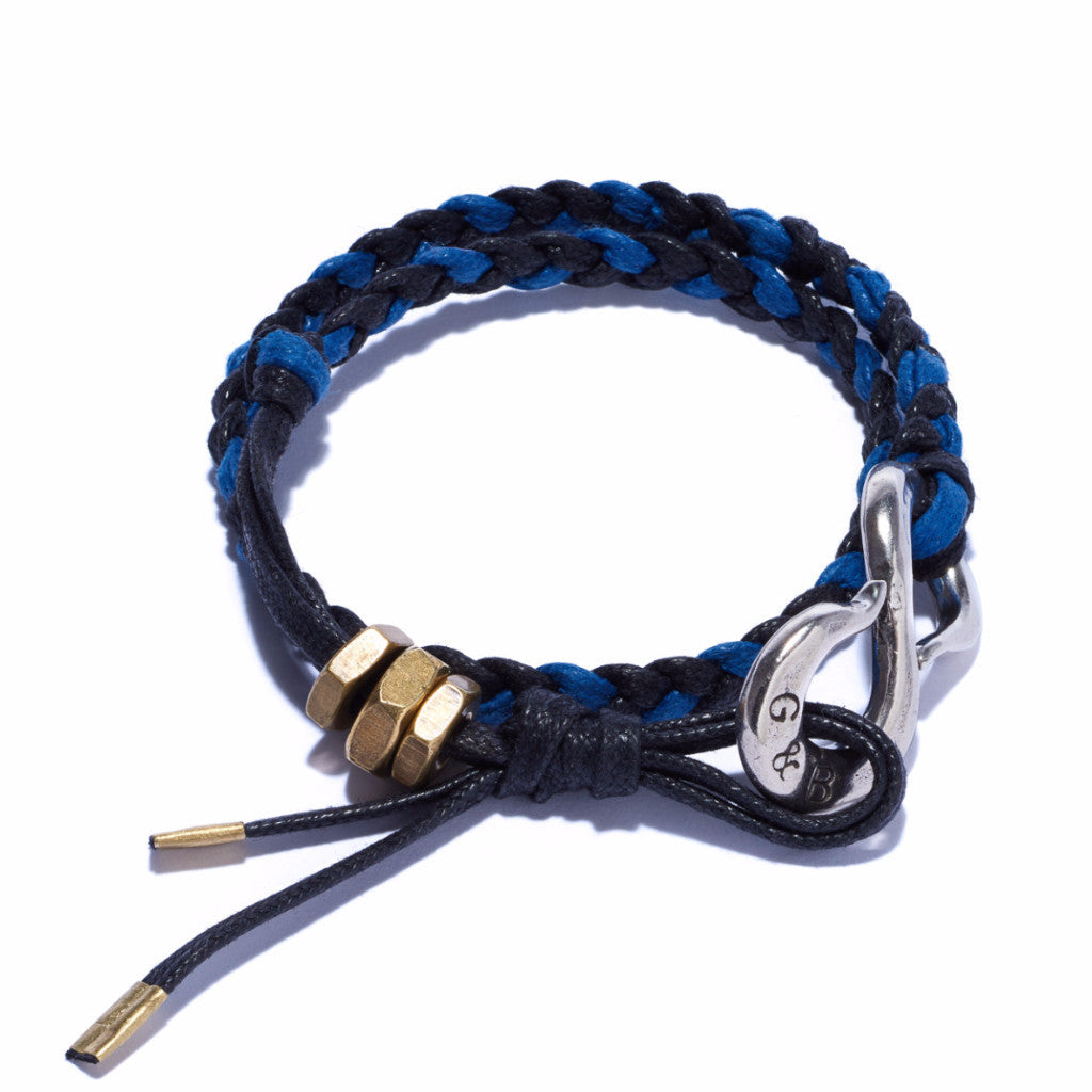 Braided S Hook Wrap Bracelet Navy & Blue