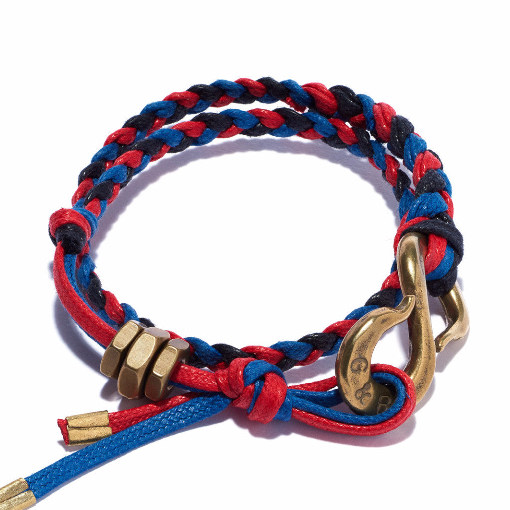Braided S Hook Wrap Bracelet Red, Blue & Black