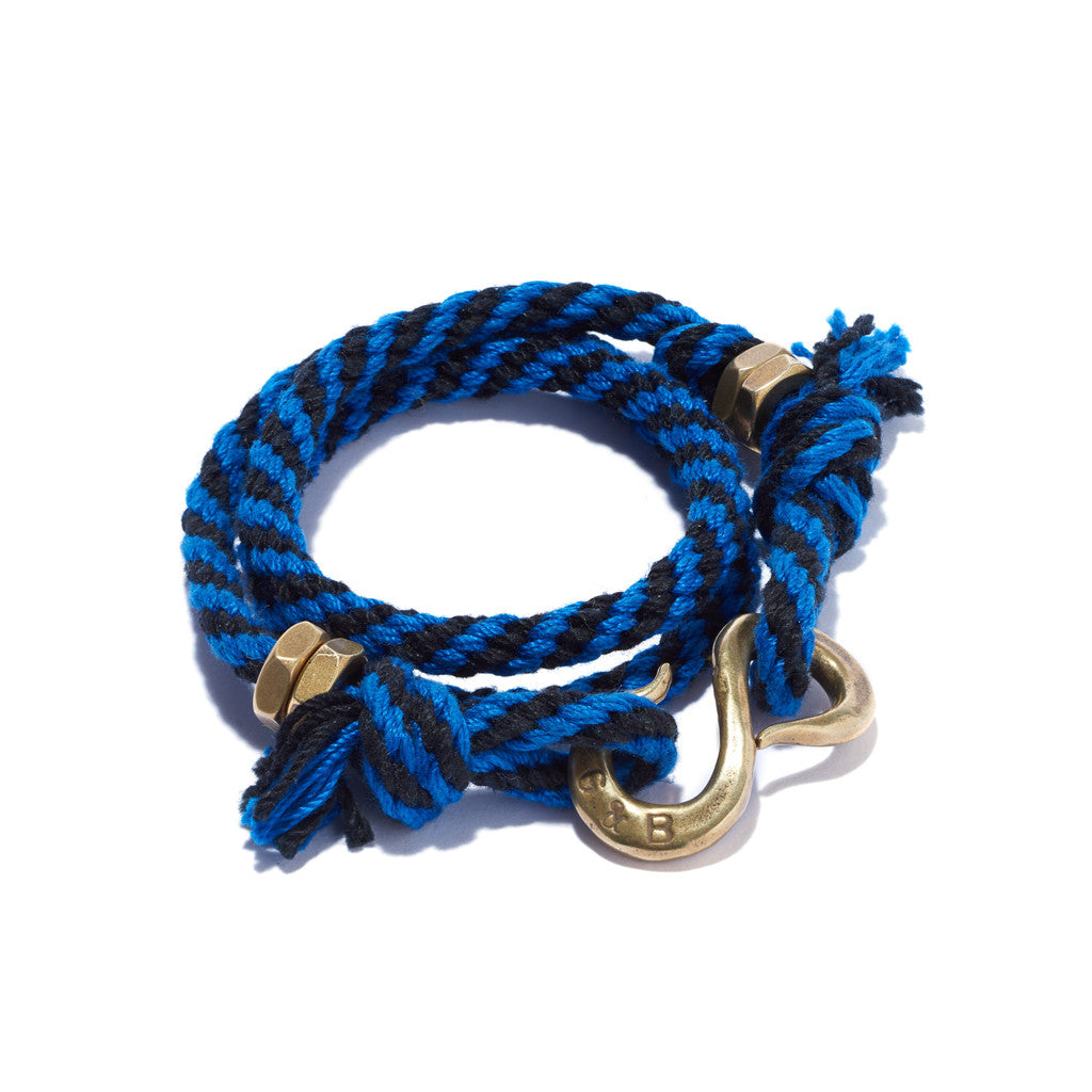 2 Color Rope S Hook Bracelet Blue & Black