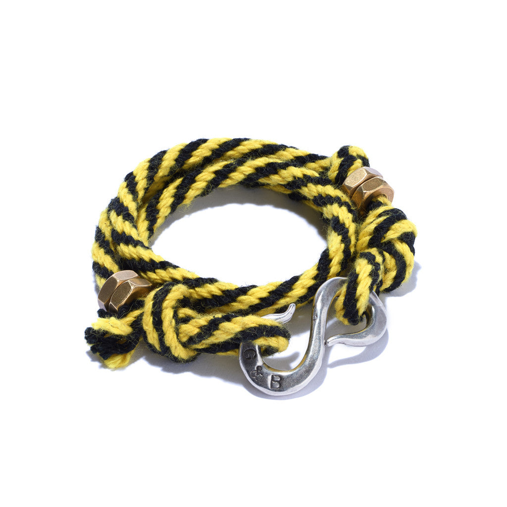 2 Color Rope S Hook Bracelet Yellow & Black