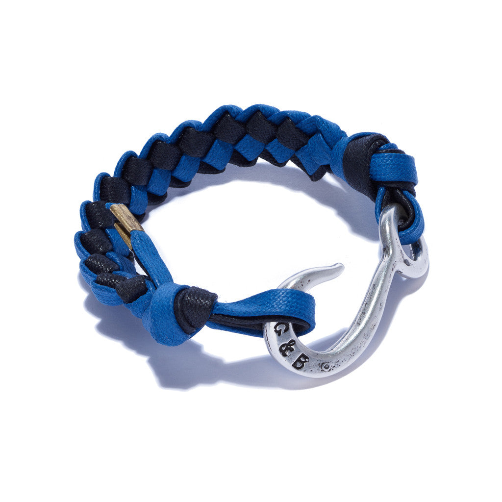 Braided Hook Bracelet Blue & Navy