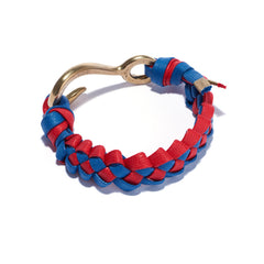 Braided Hook Bracelet Blue & Red