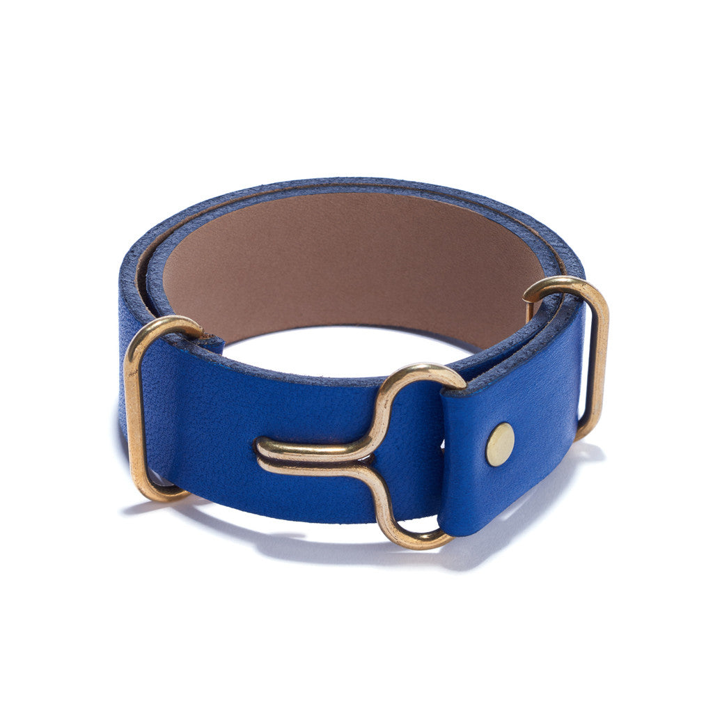 Blue Leather Wide Visor Cuff