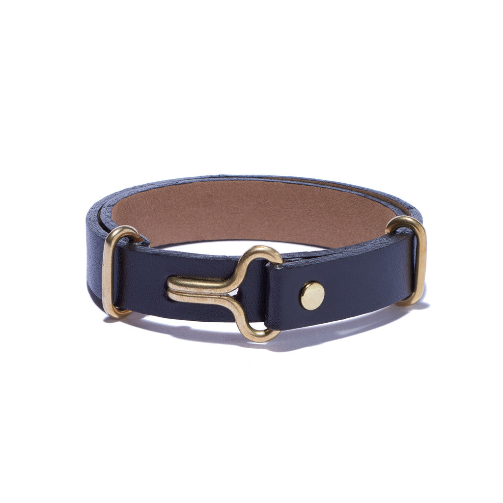 Black Leather Narrow Visor Cuff