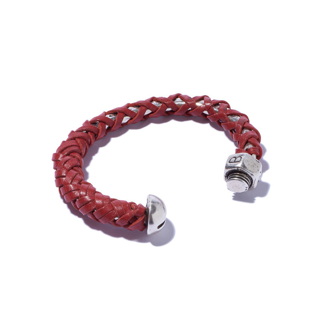 Nut & Bolt Cuff with Red Leather Lashing
