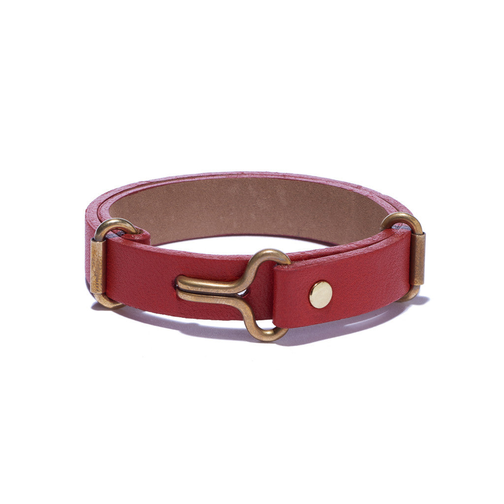 Red Leather Narrow Visor Cuff
