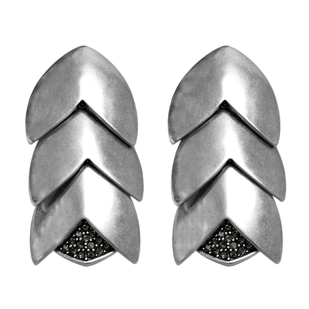 Nara Silver Oxide Earrings with Pave