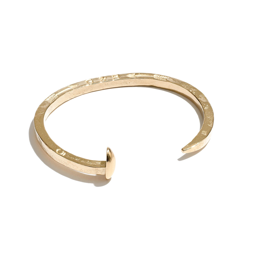 Skinny Railroad Spike Cuff in 14K Gold