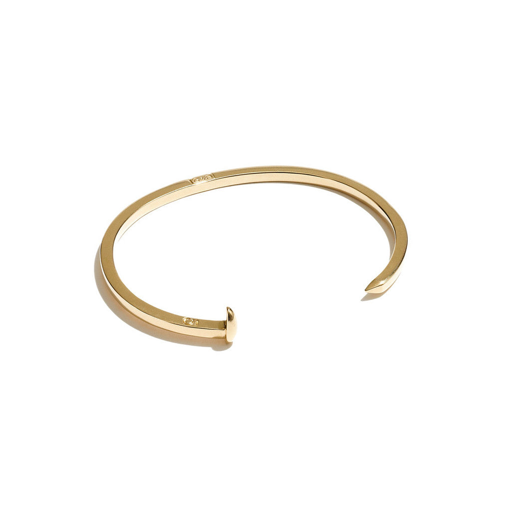 Mini Railroad Spike Cuff in 14K Gold