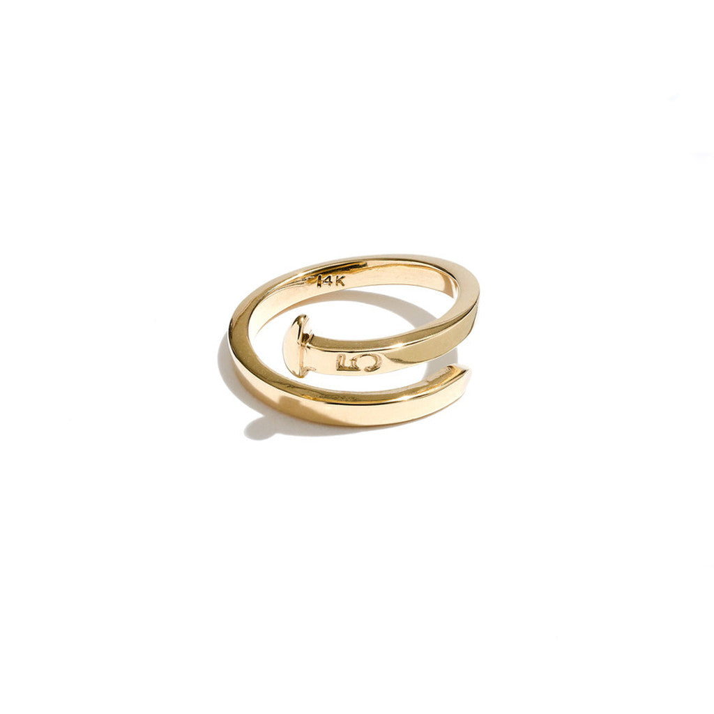 Mini Railroad Spike Crossover Ring in 14K Gold