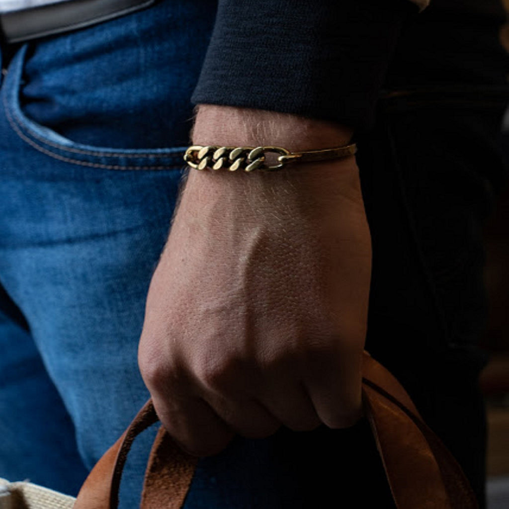 Brass Hinge Cuff with Chain Detail