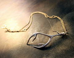 Large Antler Necklace Sterling