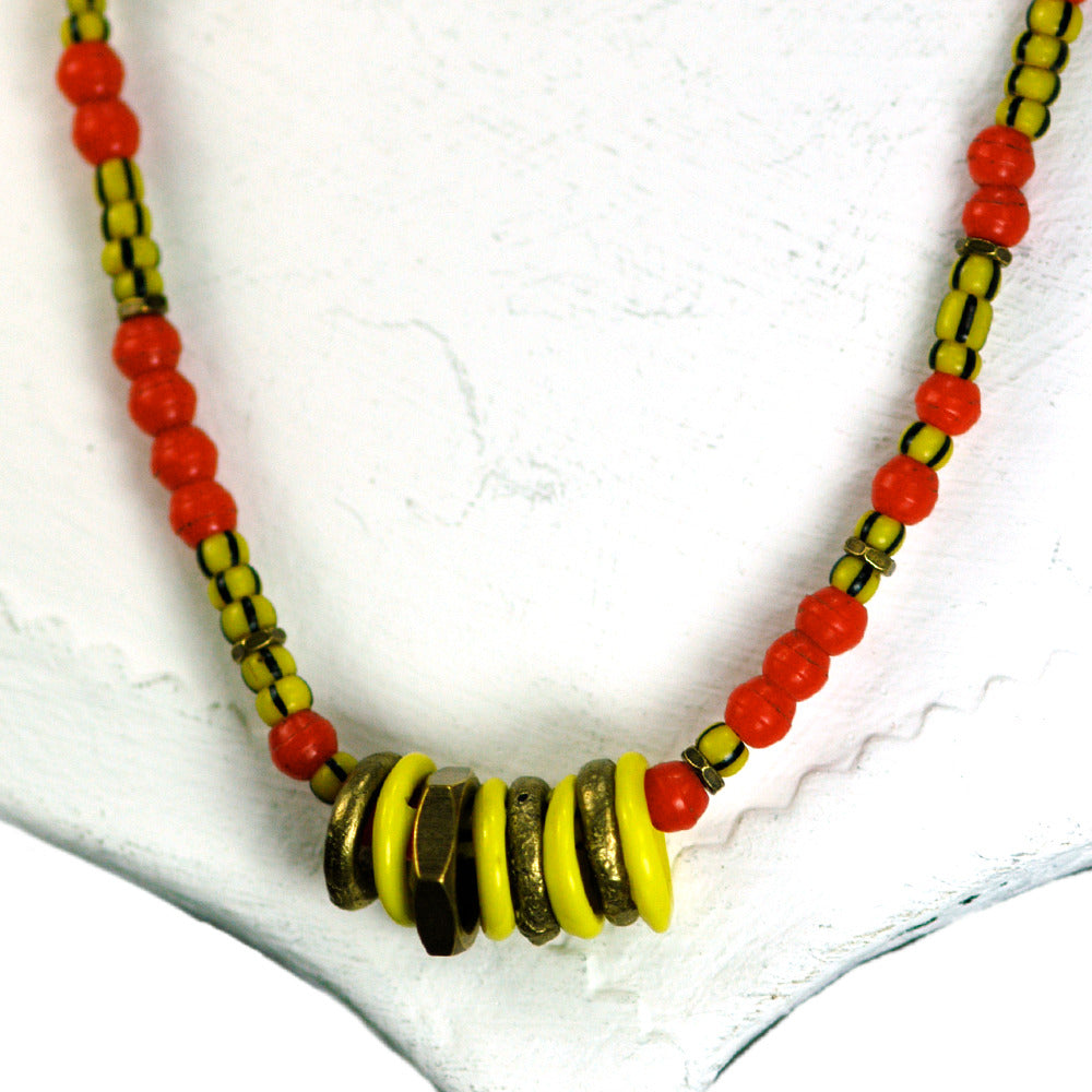 Vintage African Bead Necklace with Rings