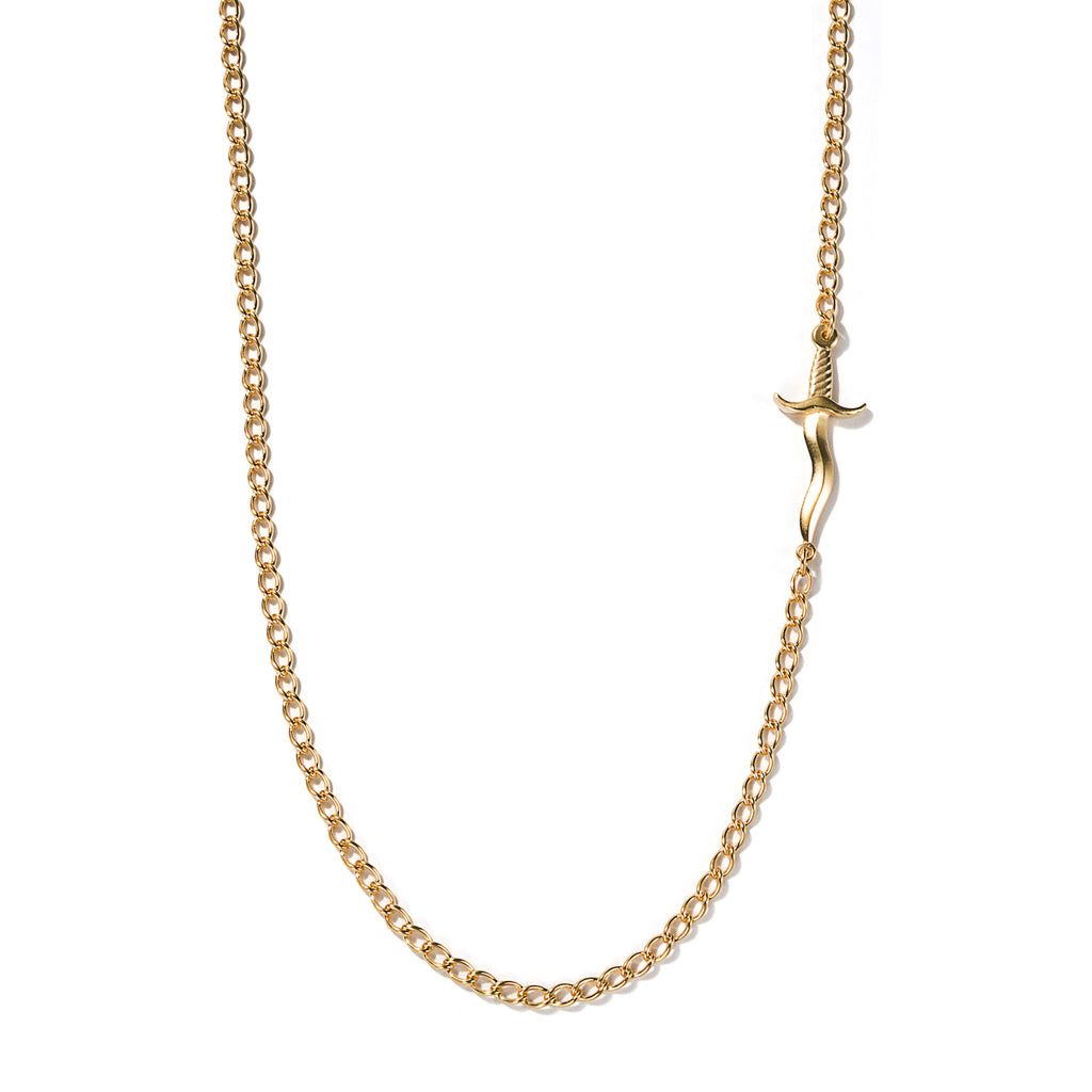 Embedded Dagger Necklace Gold