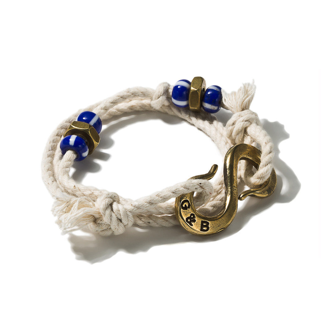 Wrap Rope S-Hook Bracelet Ivory Brass