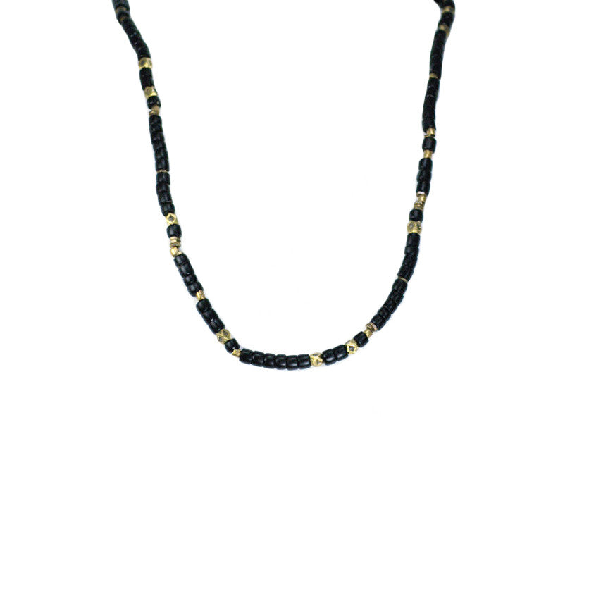 Black and Brass Vintage African Bead Necklace