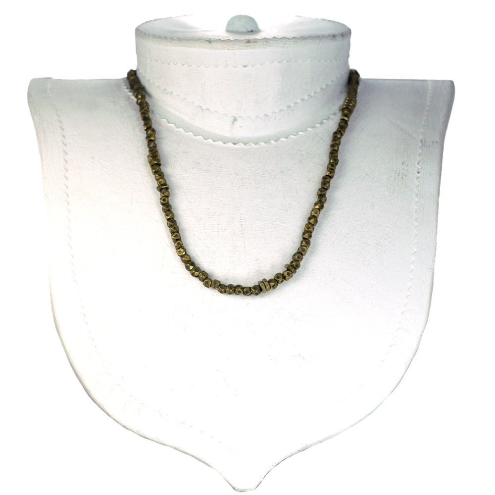 Large Faceted Brass Bead Necklace