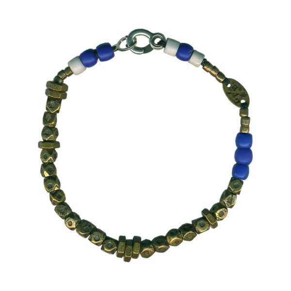 Large Faceted Brass Bead Bracelet