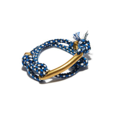 ID Bar Multi Check Rope Wrap Cuff Blue