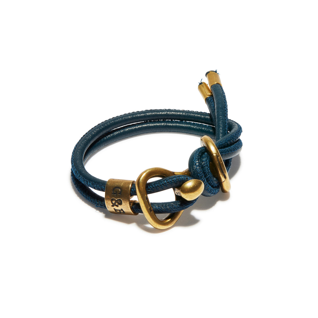 Navy Round Leather Wrap