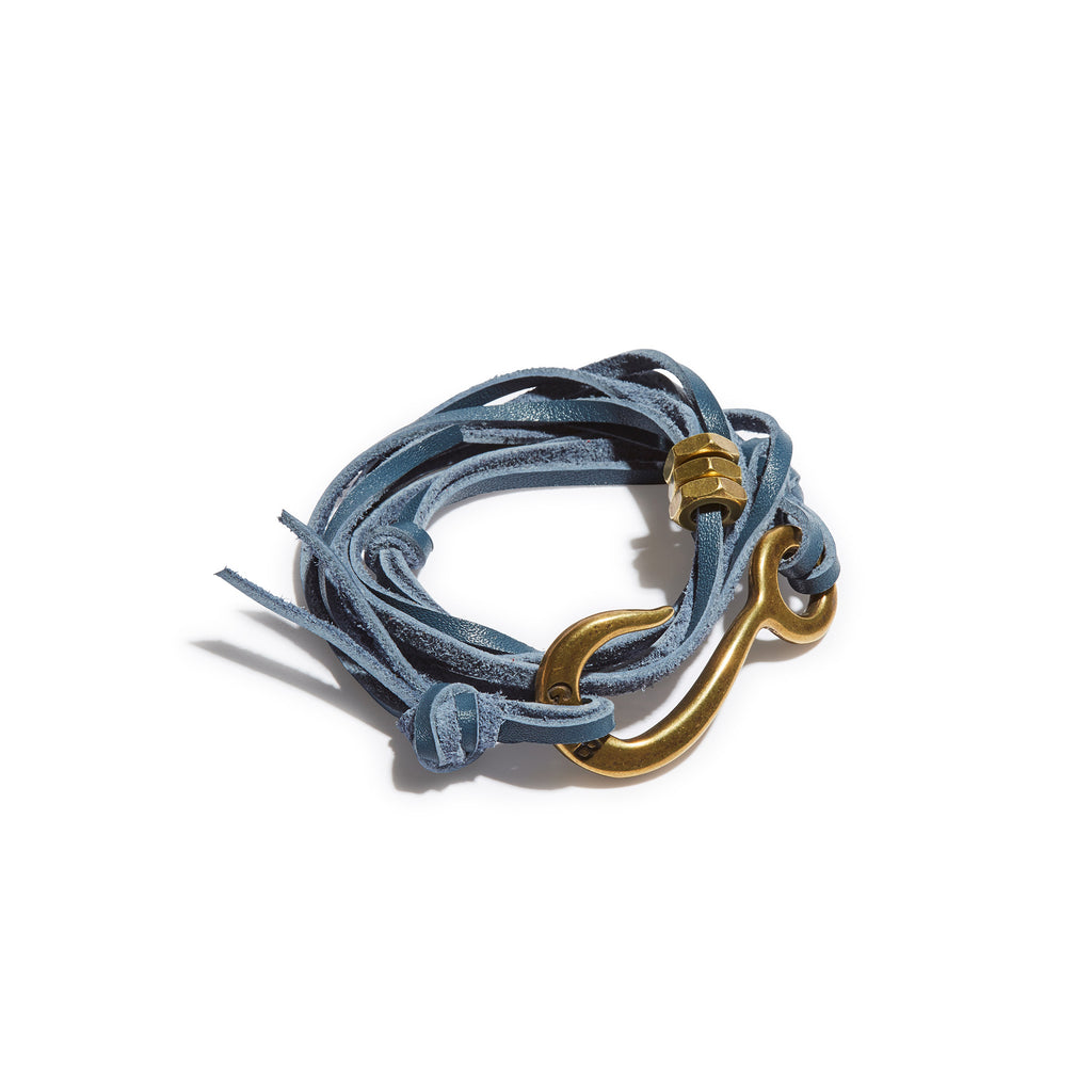 Hook With Leather Lashing  Cadet Blue with Brass Hook