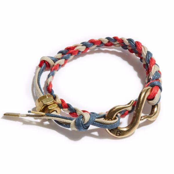 Braided Red, Blue & Sand Cotton Lacing S-Hook Wrap Bracelet