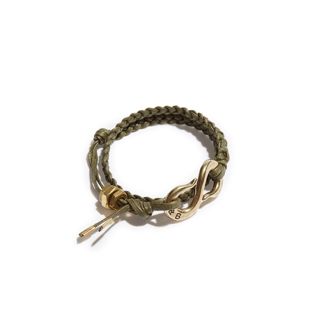 Braided S Hook Wrap Bracelet Army Green