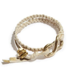 Braided S-Hook Cotton Lacing Wrap Bracelet Ivory