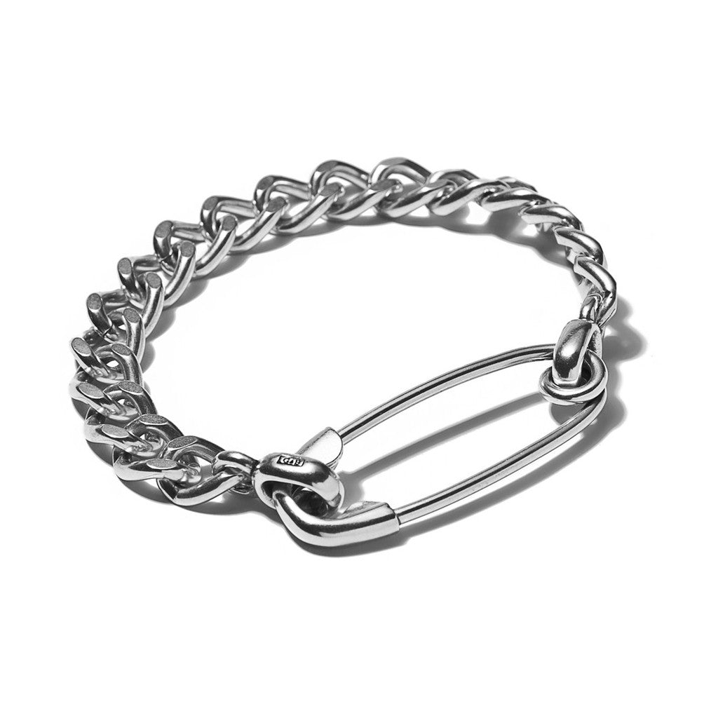 Sterling Silver Safety Pin ID Chain Bracelet