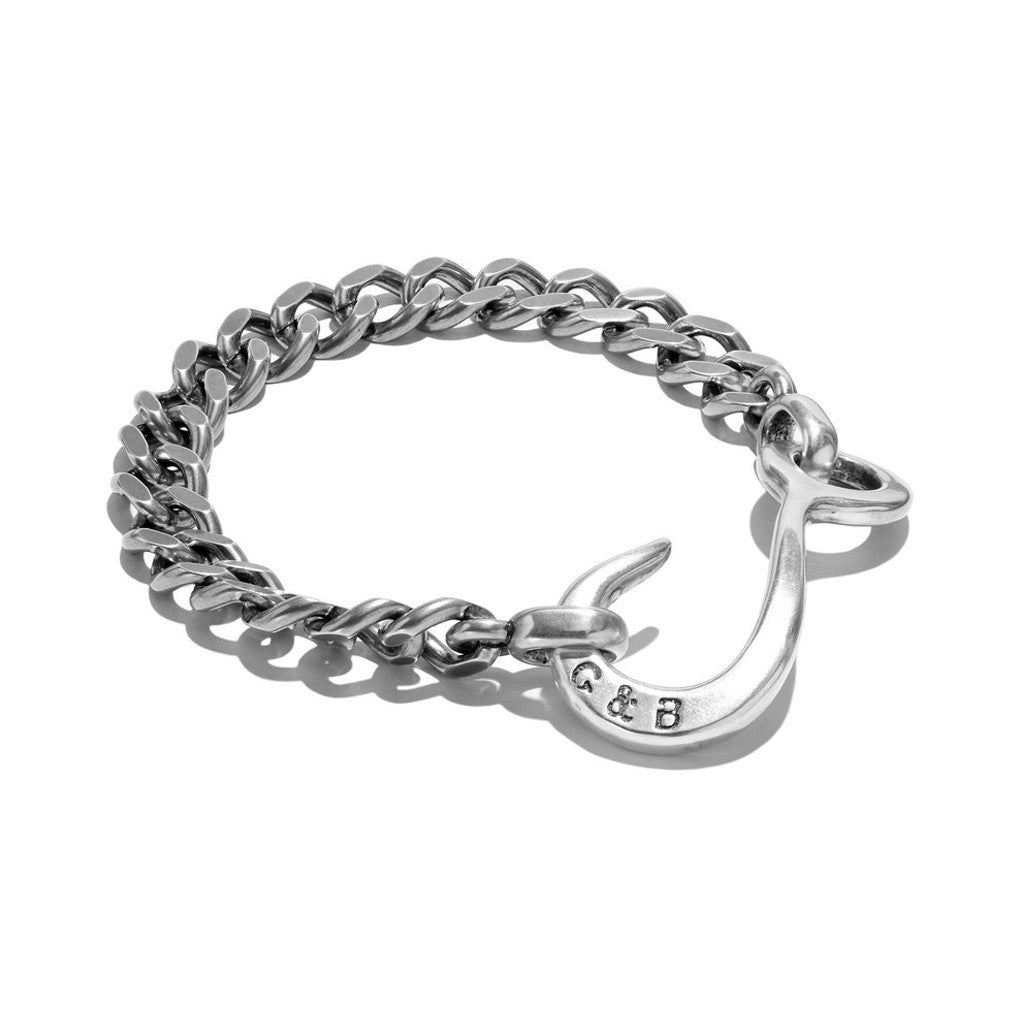 Sterling Silver Hook ID Chain Bracelet