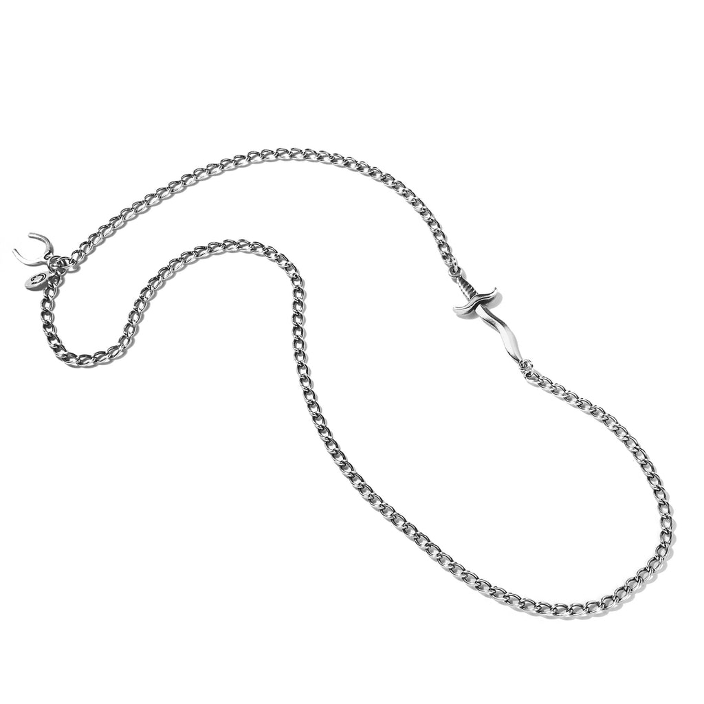 Embedded Dagger Necklace Silver